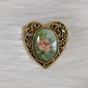 Vtg Hand Painted Porcelain Heart Filigree Brooch